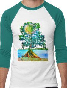 Cypress Tree by Daniel Adams Men's Baseball ¾ T-Shirt
