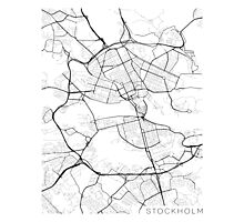 Stockholm Map, Sweden - Black and White Photographic Print