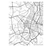 Bangkok Map, Thailand - Black and White Photographic Print