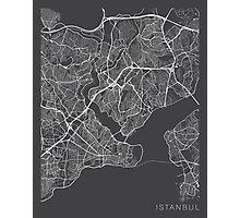 Istanbul Map, Turkey - Gray Photographic Print