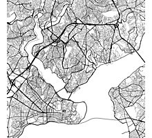 Istanbul Map, Turkey - Black and White Photographic Print