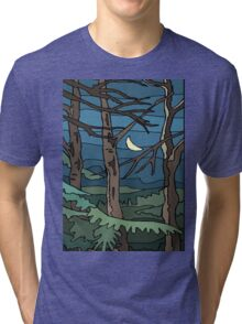 Abstract Tree Branch Night Scene Tri-blend T-Shirt