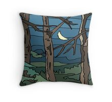 Abstract Tree Branch Night Scene Throw Pillow