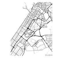 Dubai Map, UAE - Black and White Photographic Print