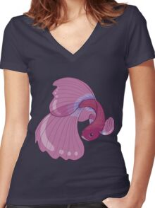 Purple, Gold and Blue Betta Fighting Fish  Women's Fitted V-Neck T-Shirt