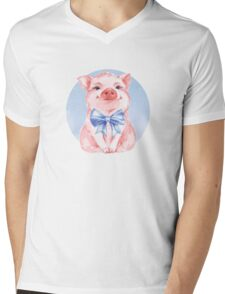 Happy Pig Mens V-Neck T-Shirt
