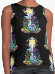 Psychedelic meditating Nature-man Contrast Tank