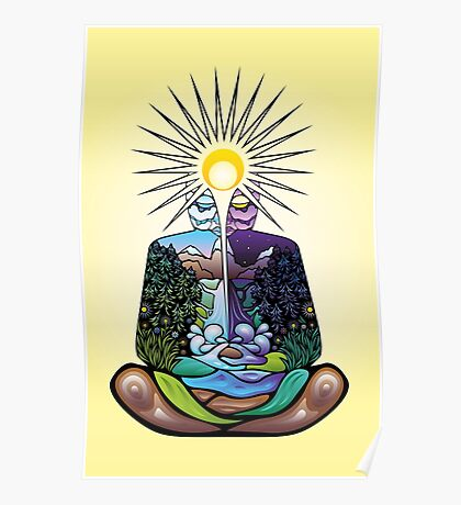 Psychedelic meditating Nature-man Poster