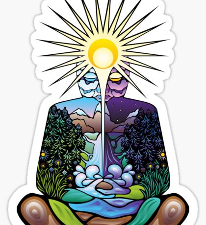 Psychedelic meditating Nature-man Sticker