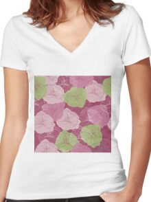 Vector floral pattern in doodle style with flowers. Gentle, spring Women's Fitted V-Neck T-Shirt