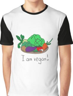 I am vegan. Conceptual handwritten phrase. Hand lettered calligraphic design. Graphic T-Shirt