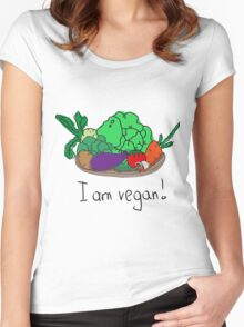 I am vegan. Conceptual handwritten phrase. Hand lettered calligraphic design. Women's Fitted Scoop T-Shirt
