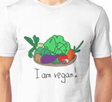 I am vegan. Conceptual handwritten phrase. Hand lettered calligraphic design. Unisex T-Shirt