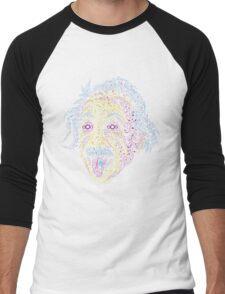 Acid Scientist tongue out psychedelic art poster Men's Baseball ¾ T-Shirt