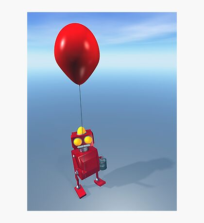 Happy Birthday Little Red Robot Photographic Print