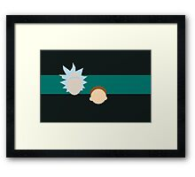 A dimension-travelling scientist and his Morty (minimalist) Framed Print