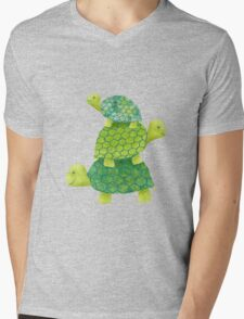 Turtle Stack Mens V-Neck T-Shirt