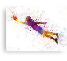 american football player scoring touchdown Canvas Print