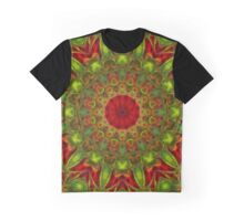Mandala in vivid green and red colors Graphic T-Shirt