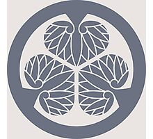 Painted grey Tokugawa Ieyasu SHOGUN family crest (Mitsubaaoi) Tokugawa Ieyasu SHOGUN   Photographic Print