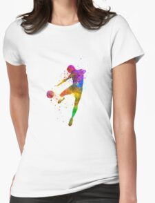 man soccer football player flying kicking Womens Fitted T-Shirt