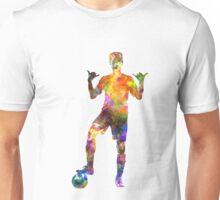 soccer football player young man saluting Unisex T-Shirt