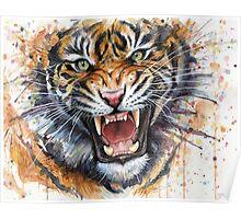 Ferocious Tiger Watercolor Poster