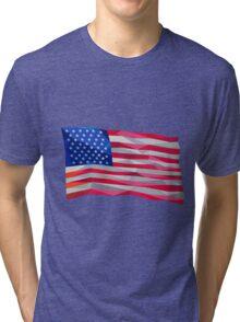 USA Flag Stars and Stripes Low Polygon Tri-blend T-Shirt