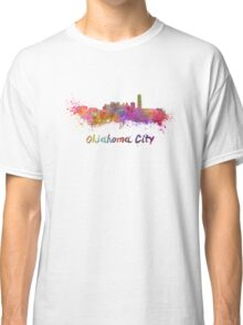 Oklahoma City skyline in watercolor Classic T-Shirt