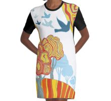 Farbenfrohe Herbstlandschaft - Abstrakte Kunst Graphic T-Shirt Dress