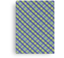 Colorful Yellow and Blue Plaid Fabric Design Canvas Print