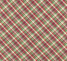 Green Red And White Plaid Fabric Design by KWJphotoart