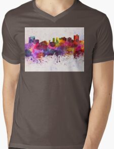 Fort Worth skyline in watercolor background Mens V-Neck T-Shirt