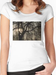 Intricate Lacy Curtains - Sunrise Glow Through the Willows  Women's Fitted Scoop T-Shirt