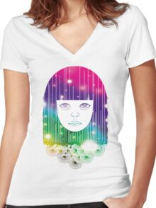 Space Girl Women's Fitted V-Neck T-Shirt