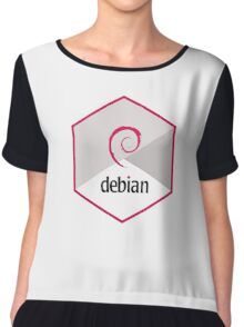 debian operating system linux hexagonal Chiffon Top