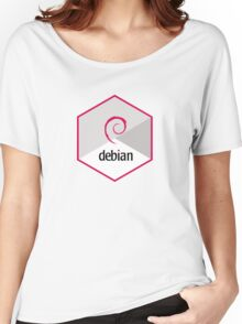 debian operating system linux hexagonal Women's Relaxed Fit T-Shirt