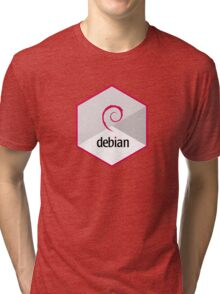 debian operating system linux hexagonal Tri-blend T-Shirt