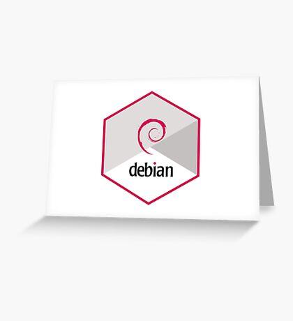 debian operating system linux hexagonal Greeting Card