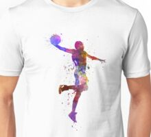 young man basketball player one hand slam dunk Unisex T-Shirt