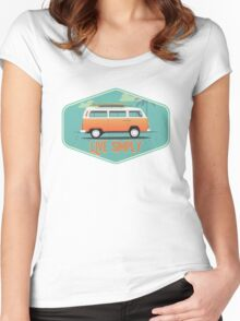 Live Simply - Beach Van Sticker Women's Fitted Scoop T-Shirt