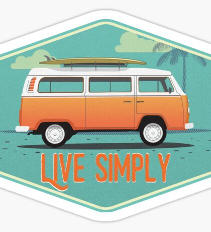 Live Simply - Beach Van Sticker Sticker