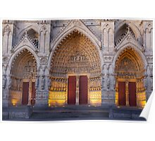 Entrance of the cathedral of Amiens Poster