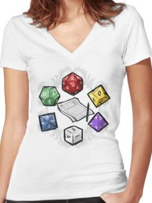 RPG DICE set and DICE PATTERN Women's Fitted V-Neck T-Shirt
