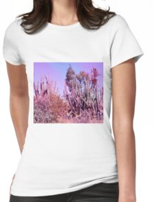 Dreamy Pink Cactus Landscape Womens Fitted T-Shirt