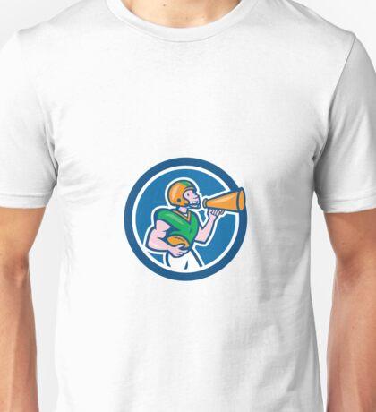 American Football Quarterback Bullhorn Cartoon Unisex T-Shirt