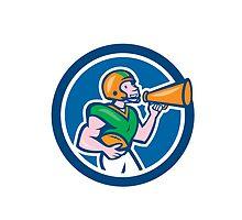 American Football Quarterback Bullhorn Cartoon by patrimonio