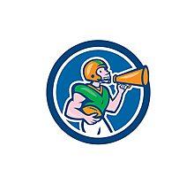 American Football Quarterback Bullhorn Cartoon Photographic Print