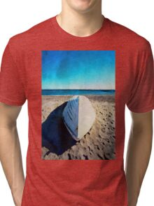Boat on the beach in watercolor Tri-blend T-Shirt