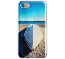 Boat on the beach in watercolor iPhone Case/Skin